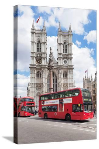 Double-Decker Buses Passing by a Cathedral, Westminster Abbey, City of Westminster, London, England--Stretched Canvas Print