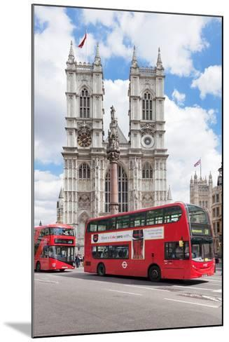 Double-Decker Buses Passing by a Cathedral, Westminster Abbey, City of Westminster, London, England--Mounted Photographic Print