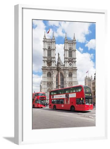 Double-Decker Buses Passing by a Cathedral, Westminster Abbey, City of Westminster, London, England--Framed Art Print