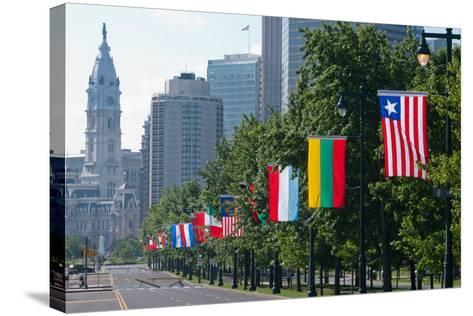 National Flags of Various Countries at Benjamin Franklin Parkway, Philadelphia, Pennsylvania, Usa--Stretched Canvas Print