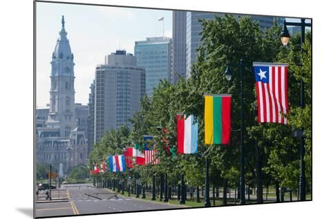 National Flags of Various Countries at Benjamin Franklin Parkway, Philadelphia, Pennsylvania, Usa--Mounted Photographic Print