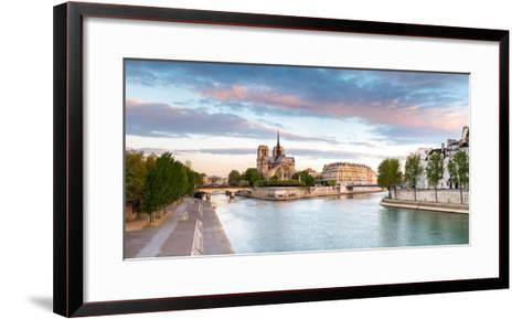 Notre Dame Cathedral on the Banks of the Seine River at Sunrise, Paris, Ile-De-France, France--Framed Art Print