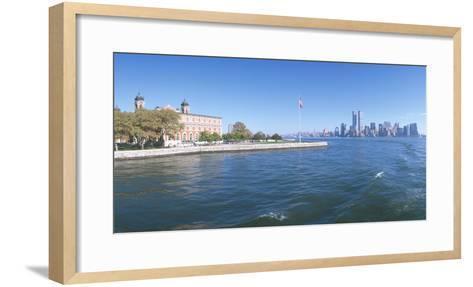 Ellis Island, Manhattan Skyline, New York--Framed Art Print