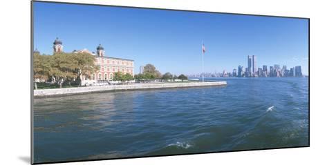 Ellis Island, Manhattan Skyline, New York--Mounted Photographic Print
