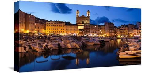 Old Town with Old Harbor and Eglise Saint-Jean-Baptiste De Bastia--Stretched Canvas Print