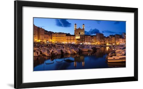 Old Town with Old Harbor and Eglise Saint-Jean-Baptiste De Bastia--Framed Art Print