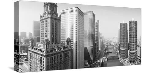 This Is a View Looking over the Chicago River. the Marina Tower Apartments--Stretched Canvas Print