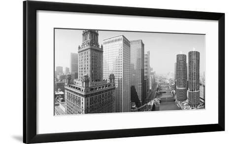 This Is a View Looking over the Chicago River. the Marina Tower Apartments--Framed Art Print