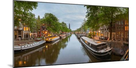 Prinsengracht Canal at Dusk with Westerkerk in Distance, Amsterdam, North Holland, Netherlands--Mounted Photographic Print