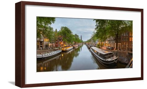 Prinsengracht Canal at Dusk with Westerkerk in Distance, Amsterdam, North Holland, Netherlands--Framed Art Print