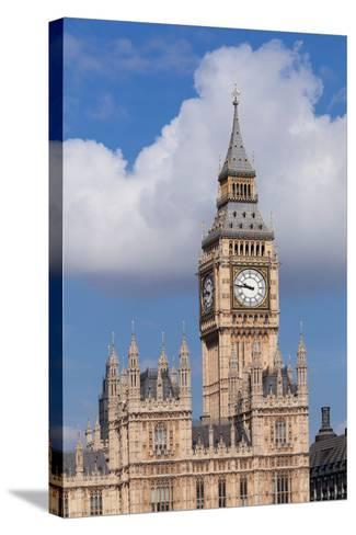 Low Angle View of Big Ben and Houses of Parliament, City of Westminster, London, England--Stretched Canvas Print