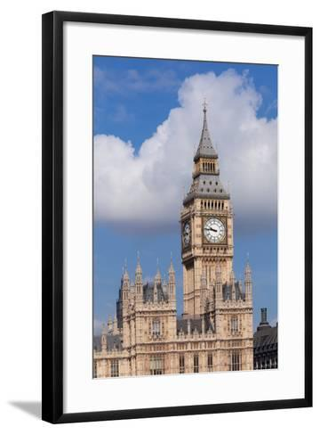 Low Angle View of Big Ben and Houses of Parliament, City of Westminster, London, England--Framed Art Print