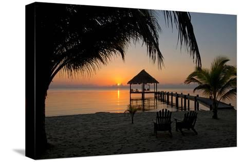 Pier with Palapa on Caribbean Sea at Sunrise, Maya Beach, Stann Creek District, Belize--Stretched Canvas Print