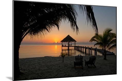 Pier with Palapa on Caribbean Sea at Sunrise, Maya Beach, Stann Creek District, Belize--Mounted Photographic Print