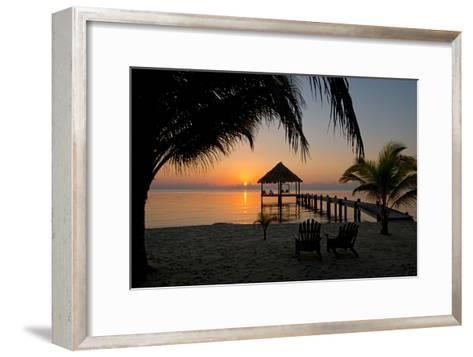 Pier with Palapa on Caribbean Sea at Sunrise, Maya Beach, Stann Creek District, Belize--Framed Art Print