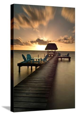 Pier with Palapa on Caribbean Sea at Sunrise, Caye Caulker Pier, Belize--Stretched Canvas Print
