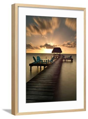 Pier with Palapa on Caribbean Sea at Sunrise, Caye Caulker Pier, Belize--Framed Art Print