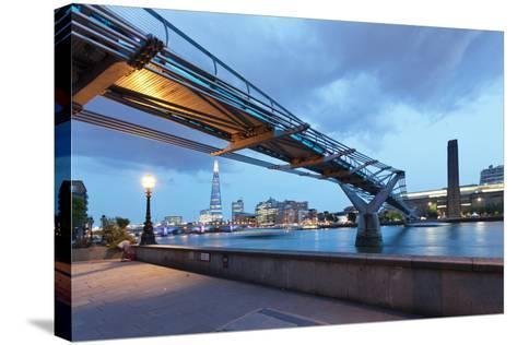 Low Angle View of Millennium Bridge, Thames River, Southwark, London, England--Stretched Canvas Print