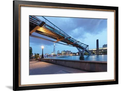 Low Angle View of Millennium Bridge, Thames River, Southwark, London, England--Framed Art Print