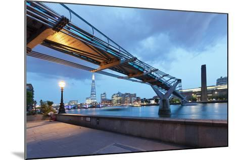 Low Angle View of Millennium Bridge, Thames River, Southwark, London, England--Mounted Photographic Print