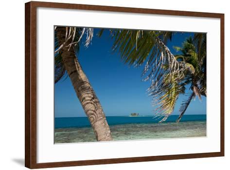 Silk Caye Island with Palm Trees, Caribbean Sea, Stann Creek District, Belize--Framed Art Print