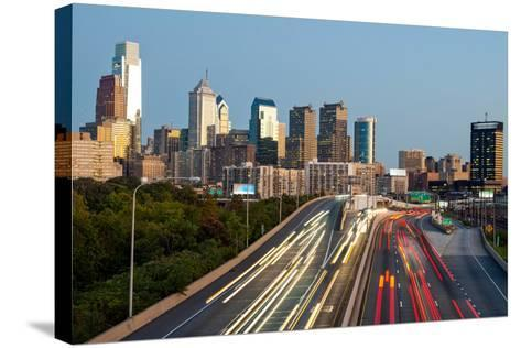Skyscrapers in a City at Dusk, Philadelphia, Pennsylvania, Usa--Stretched Canvas Print