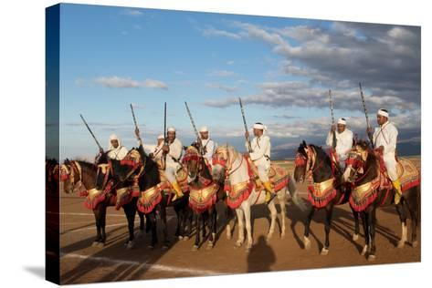 Berber Horsemen Lined Up for a Fantasia, Dades Valley, Morocco--Stretched Canvas Print
