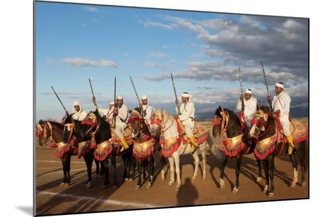 Berber Horsemen Lined Up for a Fantasia, Dades Valley, Morocco--Mounted Photographic Print