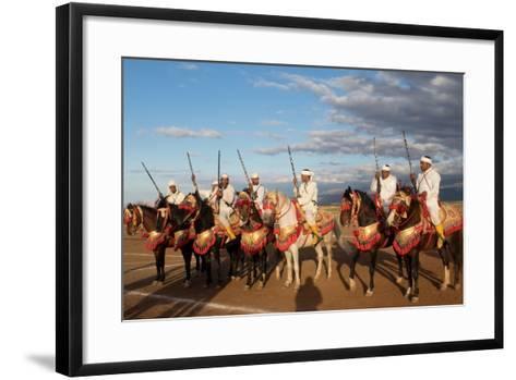 Berber Horsemen Lined Up for a Fantasia, Dades Valley, Morocco--Framed Art Print