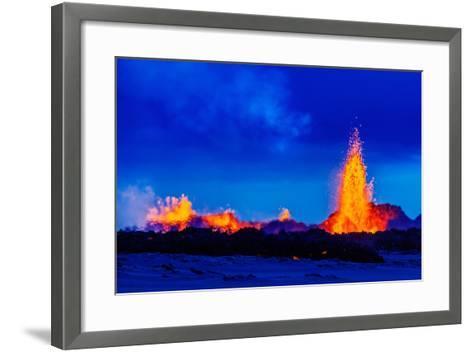 Lava Fountains at the Holuhraun Fissure Eruption Near Bardarbunga Volcano, Iceland--Framed Art Print