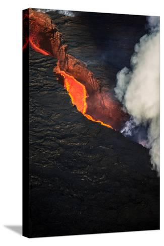 Volcano Eruption at the Holuhraun Fissure Near the Bardarbunga Volcano, Iceland--Stretched Canvas Print