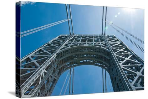 Low Angle View of a Suspension Bridge, Ben Franklin Bridge, River Delaware, Philadelphia--Stretched Canvas Print