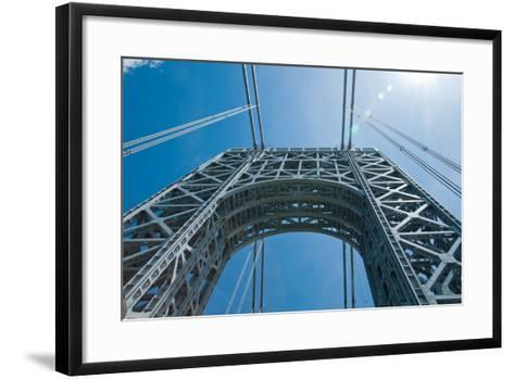 Low Angle View of a Suspension Bridge, Ben Franklin Bridge, River Delaware, Philadelphia--Framed Art Print