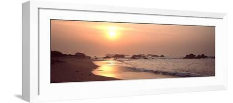 Sunset over the Beach, Brignogan, Finistere, Brittany, France--Framed Art Print