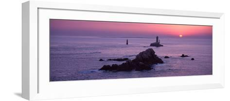 La Vieille Lighthouse at Sunset, Finistere, Brittany, France--Framed Art Print