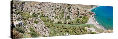 Elevated View of the Preveli Beach, Rethymno, Crete, Greece--Stretched Canvas Print