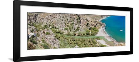 Elevated View of the Preveli Beach, Rethymno, Crete, Greece--Framed Art Print