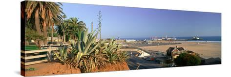 Santa Monica, Overlooking the Beach and Santa Monica Pier, California--Stretched Canvas Print