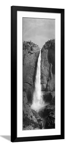 Grayscale of Bridal Veil Falls at Yosemite National Park, California--Framed Art Print