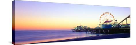 Santa Monica Pier at Sunset, California--Stretched Canvas Print