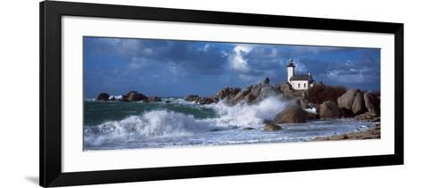 Lighthouse on the Coast, Pontusval Lighthouse, Brignogan, Finistere, Brittany, France--Framed Art Print