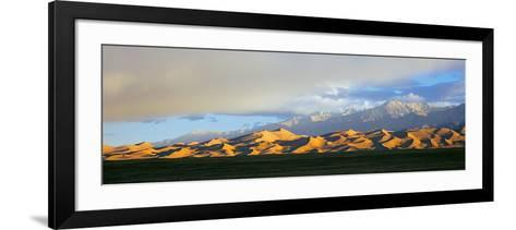 Sand Dunes in a Desert with a Mountain Range in the Background--Framed Art Print
