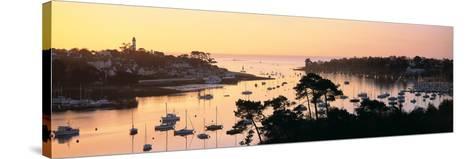 Sunrise over a Town at River Odet Estuary, Benodet, Finistere, Brittany, France--Stretched Canvas Print