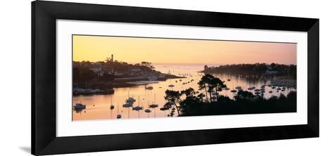 Sunrise over a Town at River Odet Estuary, Benodet, Finistere, Brittany, France--Framed Art Print