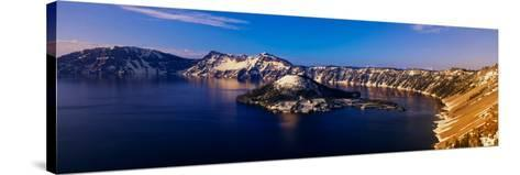 Crater Lake, Oregon at Winter--Stretched Canvas Print