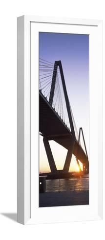 Bridge across a River at Dusk--Framed Art Print