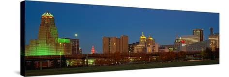 Buffalo, Skyline at Dusk, New York--Stretched Canvas Print
