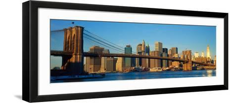 Panoramic View of Brooklyn Bridge and East River at Sunrise with New York City--Framed Art Print