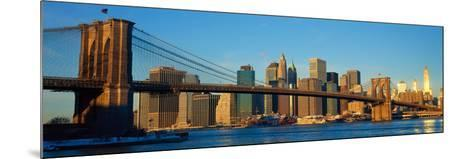 Panoramic View of Brooklyn Bridge and East River at Sunrise with New York City--Mounted Photographic Print