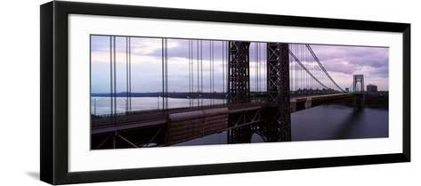 Panoramic View of George Washington Bridge over Hudson River from New York City, Ny--Framed Art Print
